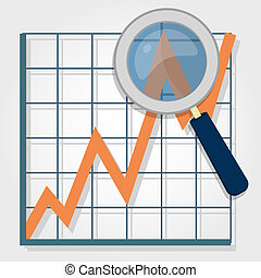 Growth chart with a magnifying glass focusing on a point. Representing success and financial growth.