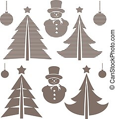 Graphical Christmas symbols set