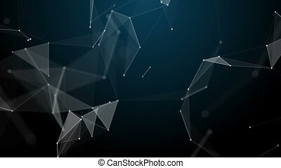 Graphical geometric background molecule and connection, white cybernetic points, stars, lines. Beautiful plexus. Abstract creative composition, gray wallpaper, space. Loop animation.