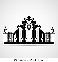 Ornamental Gate - Graphical Ornamental Gate on white. Vector...