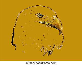 Graphical sketch of silhouette predator eagle