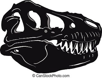 Graphical tyrannosaur s skull isolated on black background, ...