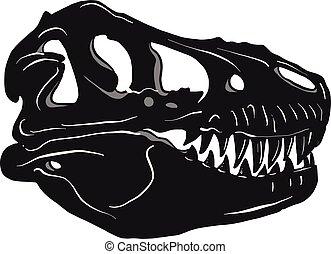Graphical tyrannosaur s skull, vector illustration