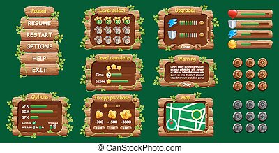 Graphical user Interface GUI for mobile game or app. Design, buttons and icons. Vector illustration.