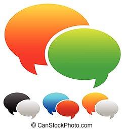 graphics., サポート, editable., 2, 重なり合う, スピーチ, ベクトル, スピーチ, コミュニケーション, 泡, 泡, concepts., 話, チャット