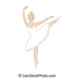 graphics., ballerina, isolato, vestire, fondo., vettore, bianco