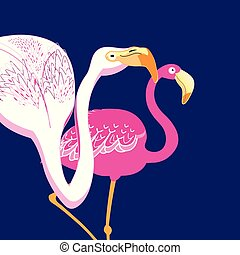 Graphics beautiful portraits of pink flamingos on a blue...