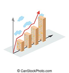 Graphics construction growth. Buildings of city, and growth. Vector illustration for a construction company. Increase in pace of productivity. Business Infographic