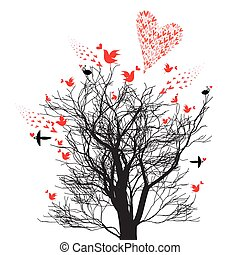 Graphics design tree with love birds and hearts
