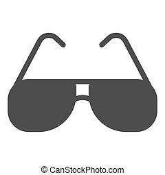 graphics., fond, toile, signe, glyph, icône, concept, design., protection, lunettes, icône, été, concept, vecteur, lunettes soleil, soleil, mobile, style, blanc, aviateur, solide