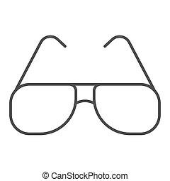 graphics., fond, toile, signe, icône, concept, design., protection, lunettes, icône, été, ligne, concept, vecteur, lunettes soleil, soleil, mobile, mince, style, blanc, contour, aviateur