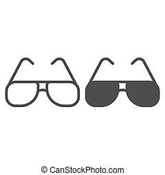 graphics., fond, toile, signe, icône, concept, design., protection, lunettes, icône, été, ligne, concept, vecteur, lunettes soleil, soleil, mobile, style, blanc, contour, aviateur, solide