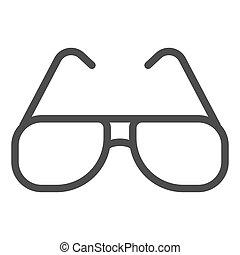 graphics., fond, toile, signe, icône, concept, design., protection, lunettes, icône, été, ligne, concept, vecteur, lunettes soleil, soleil, mobile, style, blanc, contour, aviateur