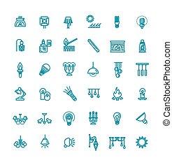 graphics., llumination, contorno, -, vector, icono, conjunto, lámpara