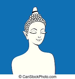 Graphics of a beautiful Buddha portrait on a blue background