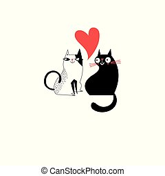 Graphics of enamored cats