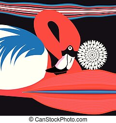 Graphics Poster beautiful red Flamingo on dark background