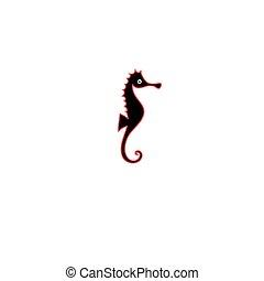 Graphics silhouette icon of sea horse
