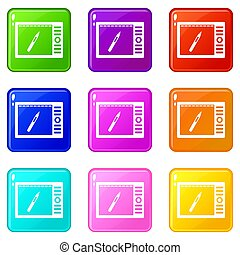 Graphics tablet icons 9 set