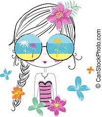 graphic/the, livro, crianças, girl/character, menina, desenho, illustrations/illustration, girl/pretty, girl/t-shirt, cute, illustrations/fashion, graphic/sea-themed, verão, bonito, design;, girl/sweet, girl/beach