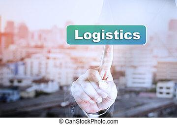 graphique, écran, main, toucher, homme affaires, logistics.
