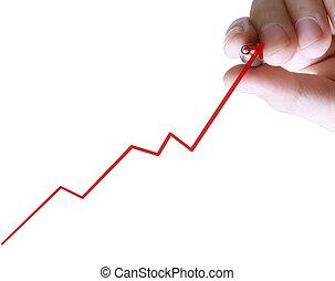 graphique, écriture, homme affaires, business, main