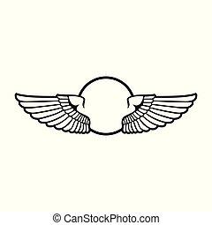 graphique, écusson, symbole, conception, ouvert, ailes, circulaire