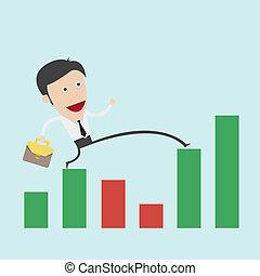 graphique, étape, business, sur, homme, négatif