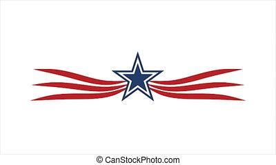 graphique, étoile, mouvement, américain, ailes, hd, icône