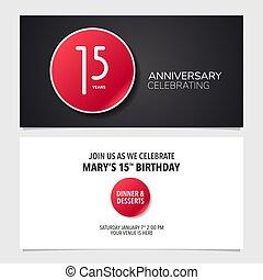 graphique, 15, illustration., double, pris parti, anniversaire, années, vecteur, conception, gabarit, invitation, carte