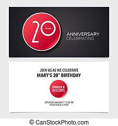 graphique, 20, illustration., double, pris parti, anniversaire, années, vecteur, conception, gabarit, invitation, carte