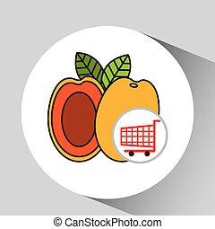 graphique, achats, pêche, charrette, fruit, icône
