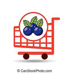 graphique, achats, prune, charrette, fruit, icône