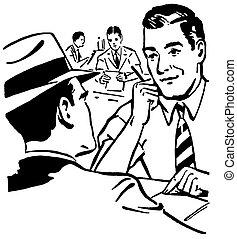 graphique, affaire, hommes affaires, deux, illustration,...