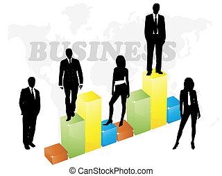 graphique, affaires gens