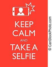 graphique, affiche, selfie, illustration, garder, vecteur, calme, prendre