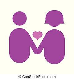 graphique, amour, couple, illustration, vecteur, tenant mains, résumé