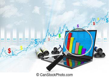 graphique, analyser, économe, business