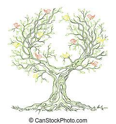 graphique, arbre, branchy, vecteur, vert, oiseaux