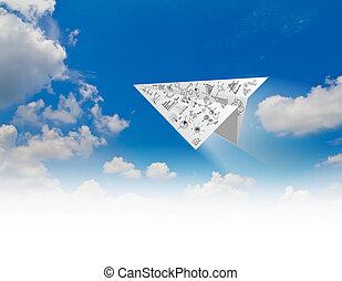 graphique, avions, papier, ciel bleu