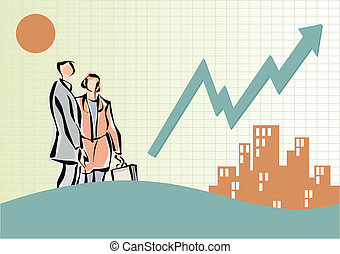 graphique, bâtiments, ligne, professionnels