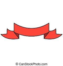 graphique, bannière, ruban, rouges