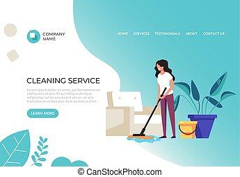 graphique, bannière, service, plat, concept., dessin animé, nettoyage, conception, illustration, vecteur, affiche