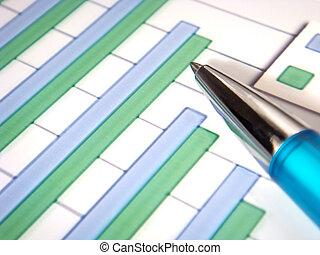 graphique barre, à, stylo