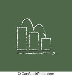 graphique barre, bas, chalk., dessiné, icône