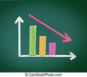 graphique, barre, coloré, diminuer