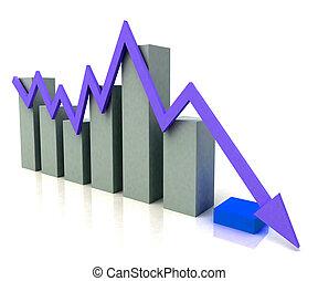 graphique barre, spectacles, bleu, profit, ligne, contre,...