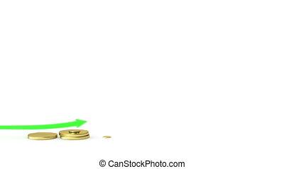graphique, barres., pièces, levée