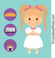 graphique, bible, dessin animé, vecteur, église, icon., pain, girl, gosse