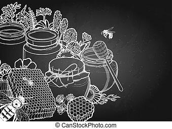 graphique, bouteilles, pré, entouré, miel, abeilles, rayons miel, fleurs